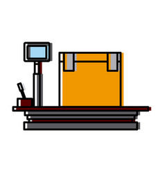 weight scale delivery box equipment cargo vector image