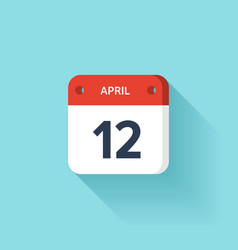 April 12 Isometric Calendar Icon With Shadow vector image
