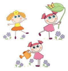 Cartoon Girl set vector image vector image