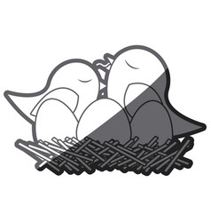 grayscale thick silhouette of bird in nest with vector image