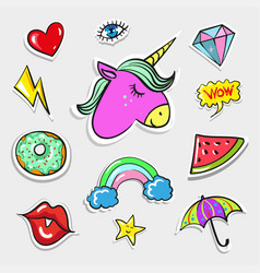 pop art fashion quirky and cute badges vector image vector image
