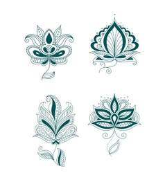 Set of abstract persian or indian flowers vector image vector image