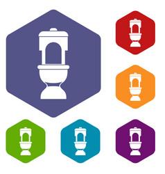 toilet bowl icons set vector image