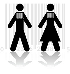 Barcode in people vector image vector image