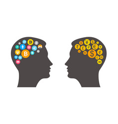 bitcoin innovation concept with two heads outline vector image vector image