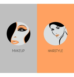 Girl face closeup Hairstyle and makeup beauty badg vector image vector image