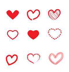 Set of hearts idel for valentines day and wedding vector