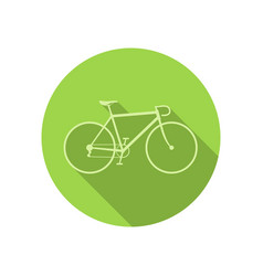 bike icon on green round background vector image