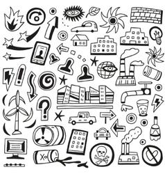 Ecology doodles vector