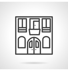Hostel facade black line design icon vector