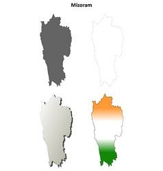 Mizoram blank detailed outline map set vector image vector image