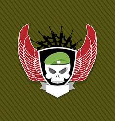 skull with wings to take Military emblem Label on vector image