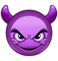 smiling face wirh horns emoticon vector image vector image