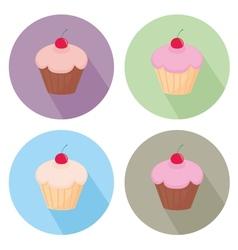 Sweet cake flat icon set isolated on white vector image
