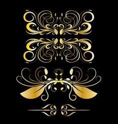 color gold vintage decorations elements black vector image