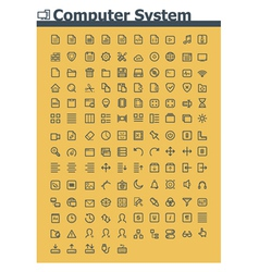 Computer system icon set vector