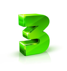 glossy green three 3 number 3d on vector image