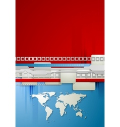 Red and blue technology background with world map vector