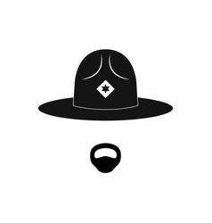 sheriff avatar mustachioed policeman in circle vector image vector image