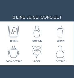 6 juice icons vector