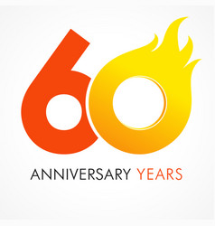 60 anniversary flame logo vector