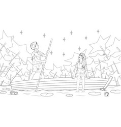 a boy and a girl ride a boat vector image