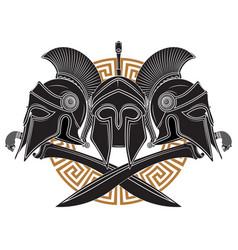 ancient hellenic helmet two crossed greek vector image