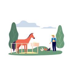 animals farming man corral horse hens flat vector image