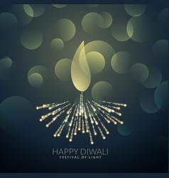 Artistick diwali diya made with fireworks vector