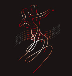 balroom dancers couple with musical notes vector image