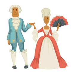 Baroque epoch man and woman court dame and vector