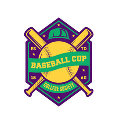 Baseball college cup vintage label vector
