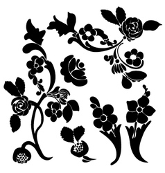 black silhouette flower vector image