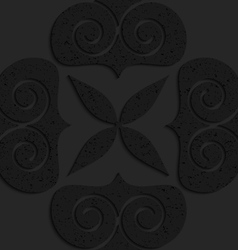 Black textured plastic big solid swirly hearts vector