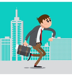 Businessman Late for Work Man Hurry to Work vector image