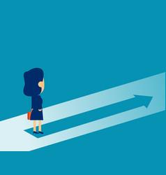 businesswoman standing on arrow symbol concept vector image