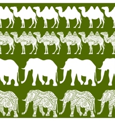 Camels and elephants pattern vector