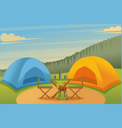camping in forest in a beautiful meadow flat vector image