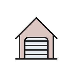 car garage with roller shutter door flat color vector image