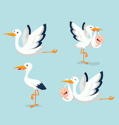 cartoon cute stork carrying baby vector image