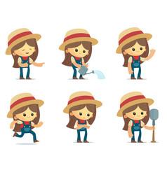 Cartoon farm girl vector