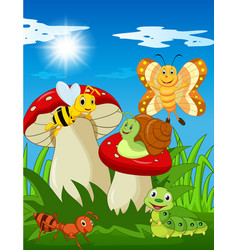 Cartoon funny insects with mushroom vector