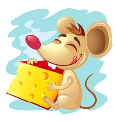 Cartoon mouse holding a wedge of cheese vector image