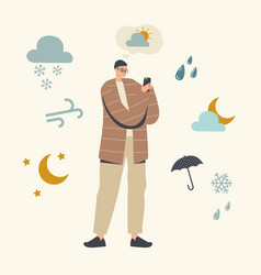character watching weather forecast in mobile app vector image