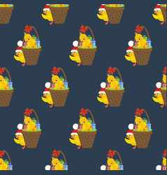 chicken with presents pattern vector image
