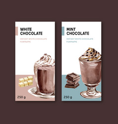 Chocolate packing design with drink vector