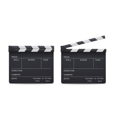 clapperboard realistic style set movie and cinema vector image