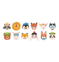 Collection of cute funny animal faces or heads vector