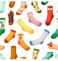 colored socks seamless pattern stylish woolen vector image