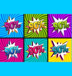 Comic text 90 percent sale set discount vector